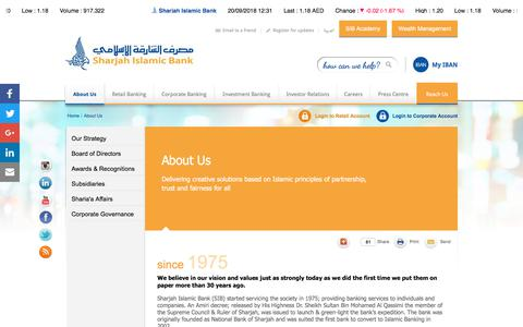 Screenshot of About Page sib.ae - About Us |                                      Sharjah Islamic Bank - captured Sept. 22, 2018