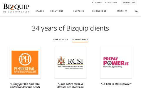 Screenshot of Testimonials Page bizquip.ie - Testimonials - Bizquip - captured Dec. 18, 2018