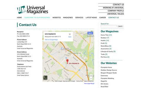 Screenshot of Contact Page universalmagazines.com.au - Contact Us - Universal Magazines - captured Sept. 25, 2014
