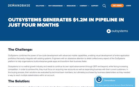 Screenshot of Case Studies Page demandbase.com - OutSystems Achieves Better Alignment and $1.2M in Pipeline | Account-Based Marketing – Demandbase - captured Nov. 6, 2019