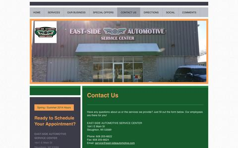 Screenshot of Contact Page east-sideautomotive.com - Contact Us - EAST-SIDE AUTOMOTIVE SERVICE CENTER - captured Oct. 1, 2014