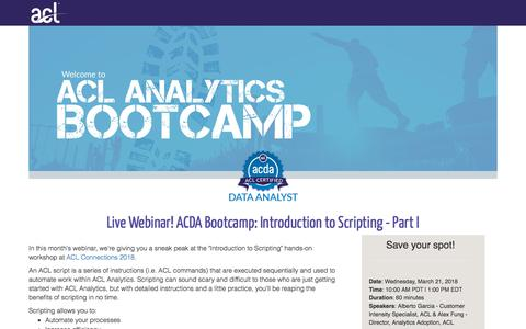 Screenshot of Landing Page acl.com - ACDA Bootcamp: Introduction to Scripting - Part I - captured April 20, 2018