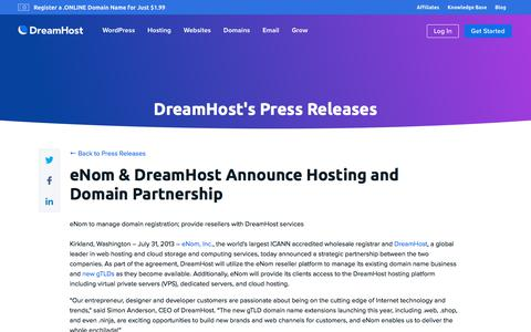 Screenshot of Press Page dreamhost.com - eNom & DreamHost Announce Hosting and Domain Partnership  – DreamHost - captured Feb. 21, 2020