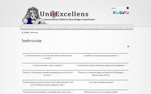 Screenshot of Testimonials Page uni-excellens.com - Testimonials - captured Oct. 7, 2014