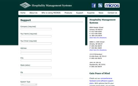 Screenshot of Support Page hmskc.com - Support | Hospitality Management Systems - captured Oct. 3, 2014