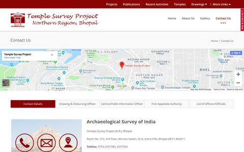Screenshot of Contact Page tspasibhopal.nic.in - Contact Us | Temple Survey Project(Northern Region), Bhopal - captured Oct. 23, 2018