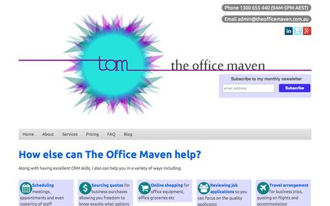 Screenshot of Services Page theofficemaven.com.au - The Office Maven - captured Oct. 9, 2014