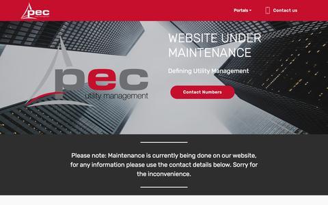 Screenshot of Home Page pecutilities.co.za - Home - captured Sept. 25, 2018