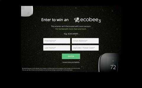 Screenshot of Landing Page ecobee.com - Ecobee3 Contest – ecobee - captured Oct. 19, 2016