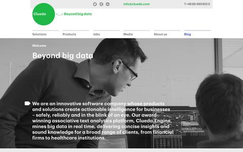 Screenshot of Home Page clueda.com - Clueda AG: Beyond big data - captured Oct. 3, 2014