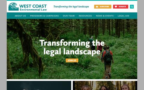 Screenshot of Home Page wcel.org - West Coast Environmental Law | Transforming the legal landscape - captured Oct. 20, 2017