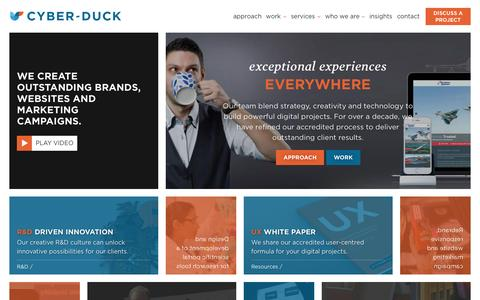 Screenshot of Home Page cyber-duck.co.uk - Award Winning Digital Agency | Cyber-Duck - captured Oct. 1, 2015