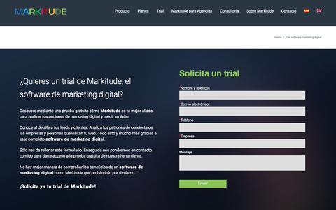 Screenshot of Trial Page markitude.com - Prueba gratis este software de Marketing & Data   Markitude - captured May 26, 2017