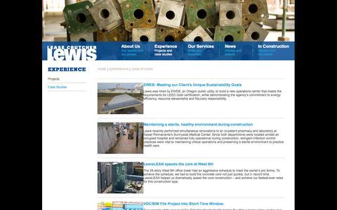 Screenshot of Case Studies Page lewisbuilds.com - Lease Crutcher Lewis - captured Oct. 2, 2014