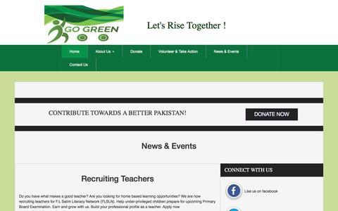 Screenshot of Press Page gogreenpk.org - Recruiting Teachers - captured May 20, 2017