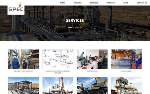Screenshot of Services Page spec-pro.com - Services - SPEC Group - captured Sept. 25, 2018
