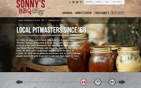Screenshot of About Page sonnysbbq.com - About Sonny's BBQ | Local Pitmasters since '68 - captured Sept. 25, 2014