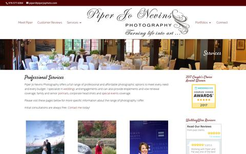 Screenshot of Services Page piperjophoto.com - Westford Photography Services - Piper Jo Nevins Photography - captured Sept. 28, 2018