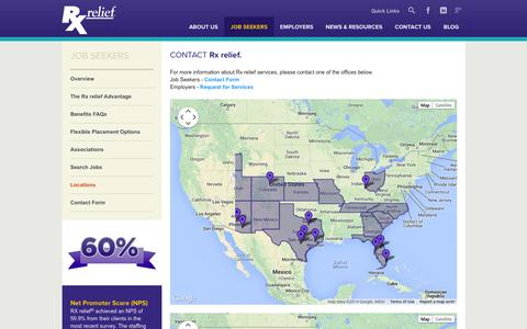 Screenshot of Locations Page rxrelief.com - Locations   Rx relief - captured Sept. 30, 2014