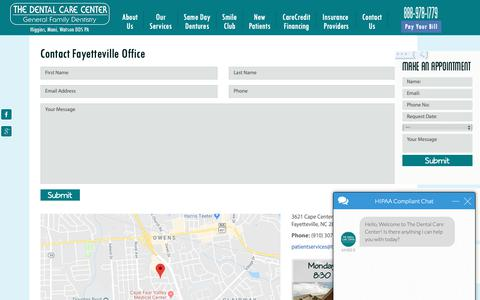 Screenshot of Contact Page mycarolinadentist.com - Fayetteville Office - Contact Us - captured Oct. 18, 2018