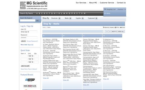 Screenshot of Press Page mgscientific.com - MG Scientific | Shop By Laboratory Chemicals, Media, Lab Supplies, and Lab Equipment - captured July 20, 2016