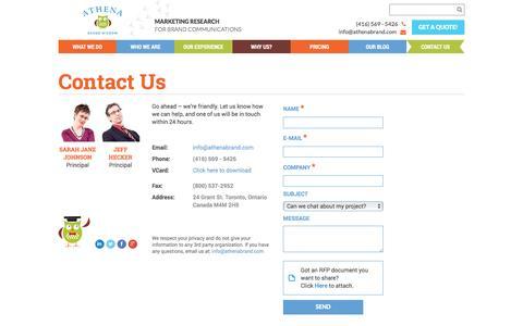 Screenshot of Contact Page athenabrand.com - Contact Us - Athena Brand Wisdom - captured Nov. 21, 2016