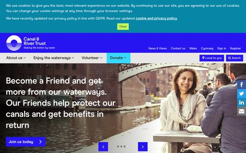 Screenshot of Home Page canalrivertrust.org.uk - Canal & River Trust | Wellbeing for everyone - captured July 15, 2018