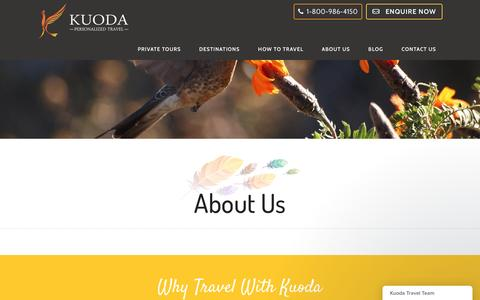 Screenshot of About Page kuodatravel.com - About Us - Kuoda Travel | Why Travel with Kuoda? - captured Aug. 9, 2016