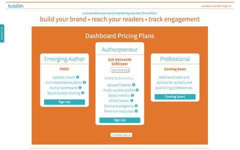 Screenshot of Signup Page bublish.com - Bublish - eBook Author Discovery and Promotion - captured Sept. 24, 2014