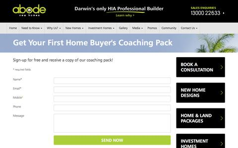 Screenshot of Signup Page newabode.com.au - Home Buyer Coaching Pack - captured Nov. 20, 2016
