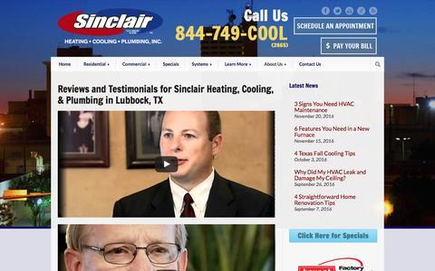 Screenshot of Testimonials Page callsinclair.com - Sinclair Heating, Cooling, Plumbing, Inc. Reviews and Testimonials about Sinclair Heating, Cooling, & Plumbing | Lubbock, TX - captured Nov. 30, 2016