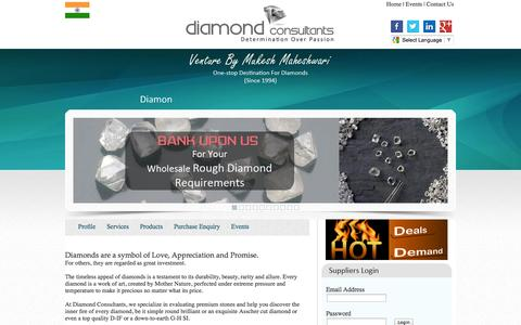 Screenshot of Home Page diamondconsultants.in - Rough Diamonds, Diamond Guide, Diamond Consultants, Premium Diamond Jewellery Consulting, Russian Rough Diamond Brokers,   Polish Diamond Brokers, Fancy Polish Diamonds - captured Oct. 5, 2014