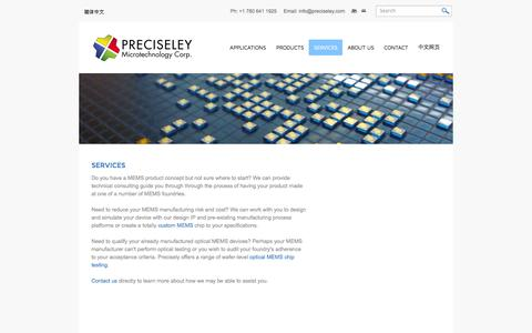 Screenshot of Services Page preciseley.com - Services - Preciseley Microtechnology Corp. - captured Oct. 3, 2014