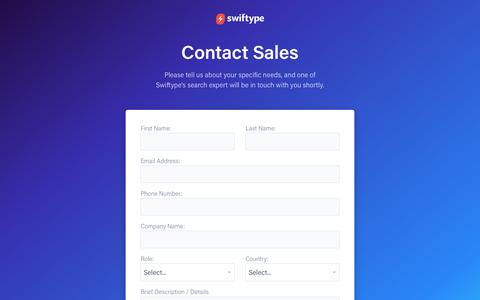Screenshot of Contact Page swiftype.com - Contact Us - Swiftype - captured Sept. 4, 2016