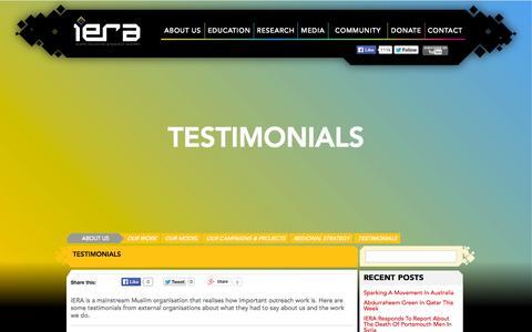 Screenshot of Testimonials Page iera.org - iERA | Testimonials - iERA - captured Oct. 29, 2014