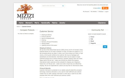 Screenshot of Support Page mizizidesign.com - Customer Service - captured Oct. 7, 2014