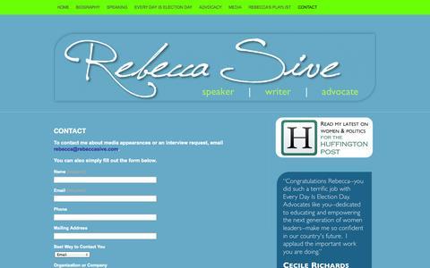 Screenshot of Contact Page rebeccasive.com - Contact   Rebecca Sive - captured Nov. 3, 2014