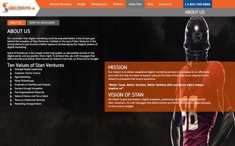 Screenshot of About Page stanventures.com - Hub of Creative Digital Marketing - Stan Ventures - captured Sept. 19, 2014