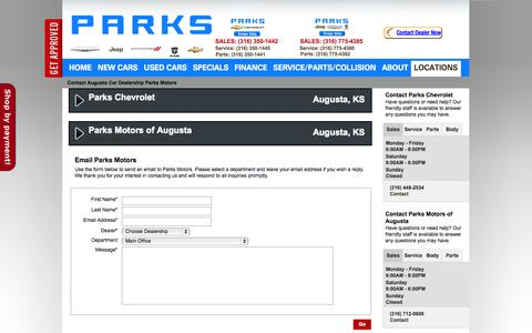 Screenshot of Contact Page Locations Page parksmotors.com - Contact Augusta Car Dealership Parks Motors - captured Oct. 22, 2014
