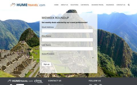 Screenshot of Signup Page hume-travel.com - Midweek Roundup | Hume Travel - captured Sept. 19, 2017