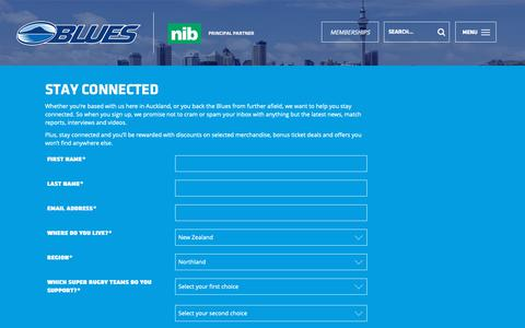 Screenshot of Signup Page theblues.co.nz captured Nov. 7, 2018