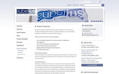 Screenshot of Jobs Page eubelius.com - Work at Eubelius | Eubelius - captured Nov. 11, 2016