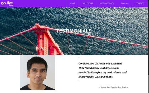 Screenshot of Testimonials Page golivelabs.io - Testimonials | Go-Live Labs - captured May 20, 2017