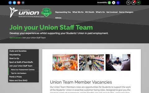 Screenshot of Jobs Page staffsunion.com - Join your Union Staff Team - captured Oct. 19, 2018