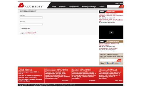 Screenshot of Login Page alchemyequities.com.au - Login - captured Sept. 30, 2014