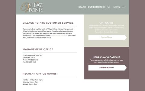 Screenshot of Support Page villagepointeshopping.com - Customer Service - captured June 21, 2016
