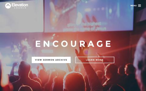 Screenshot of Home Page elevationchurch.org - Elevation Church - Get Involved, Watch Sermons, Online Church - captured Dec. 8, 2015
