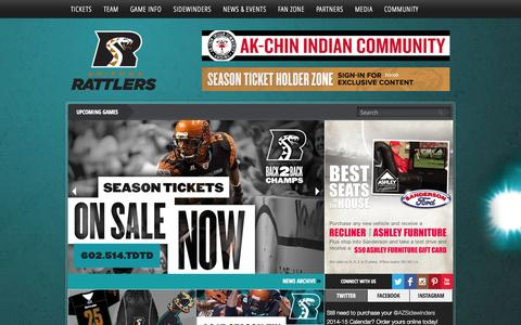 Screenshot of Home Page azrattlers.com - Arizona Rattlers - Arena Football League - captured Sept. 23, 2014