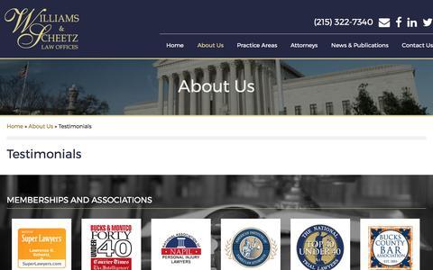 Screenshot of Testimonials Page wslawpa.com - Testimonials > The Law Offices of Williams & Scheetz - captured Oct. 22, 2017