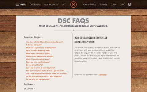 Screenshot of FAQ Page dollarshaveclub.com - Frequently Asked Questions | Dollar Shave Club - captured Dec. 15, 2015